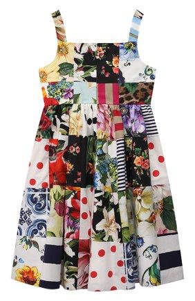 Детское хлопковое платье DOLCE & GABBANA разноцветного цвета, арт. L52DT0/G7YQ0/8-14 | Фото 2