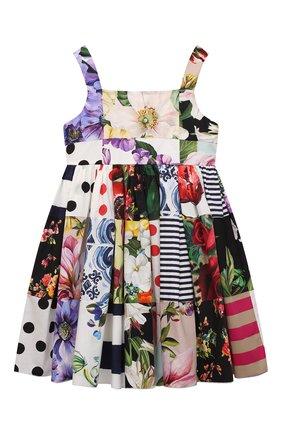 Детское хлопковое платье DOLCE & GABBANA разноцветного цвета, арт. L52DT0/G7YQ0/2-6 | Фото 1 (Материал внешний: Хлопок; Случай: Повседневный; Рукава: Короткие; Материал подклада: Хлопок; Девочки Кросс-КТ: Платье-одежда; Ростовка одежда: 2 года | 92 см, 3 года | 98 см, 4 года | 104 см, 5 лет | 110 см, 6 лет | 116 см)