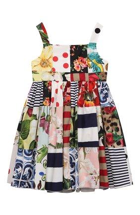 Детское хлопковое платье DOLCE & GABBANA разноцветного цвета, арт. L52DT0/G7YQ0/2-6 | Фото 2 (Материал внешний: Хлопок; Случай: Повседневный; Рукава: Короткие; Материал подклада: Хлопок; Девочки Кросс-КТ: Платье-одежда; Ростовка одежда: 2 года | 92 см, 3 года | 98 см, 4 года | 104 см, 5 лет | 110 см, 6 лет | 116 см)