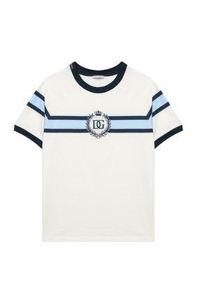 Детская хлопковая футболка DOLCE & GABBANA белого цвета, арт. L4JT8X/G7WRV/2-6 | Фото 1