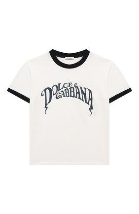 Детская хлопковая футболка DOLCE & GABBANA белого цвета, арт. L4JT8A/G7WRU/8-14   Фото 1