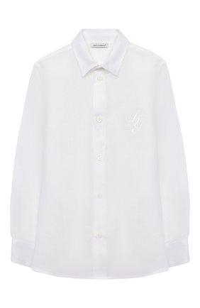 Детская льняная рубашка DOLCE & GABBANA белого цвета, арт. L42S70/G7YEA/8-14 | Фото 1