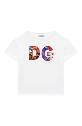 Детский хлопковая футболка DOLCE & GABBANA белого цвета, арт. L2JTGJ/G7YQL | Фото 1