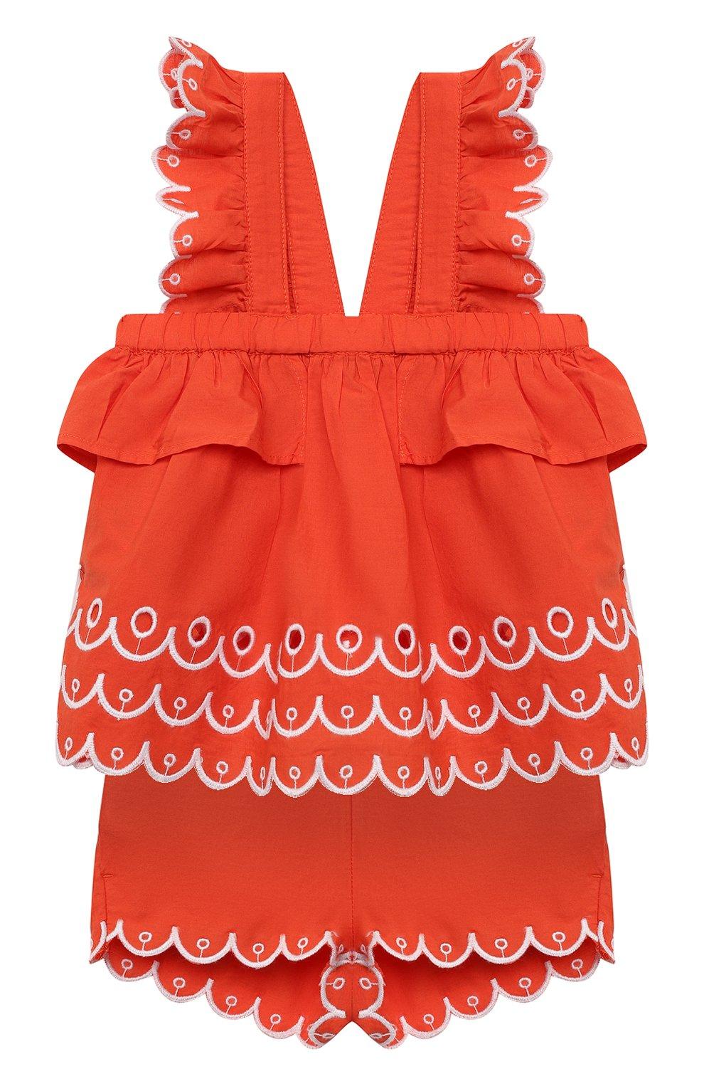 Детский комплект из топа и шорт STELLA MCCARTNEY кораллового цвета, арт. 602544/SQK79 | Фото 1
