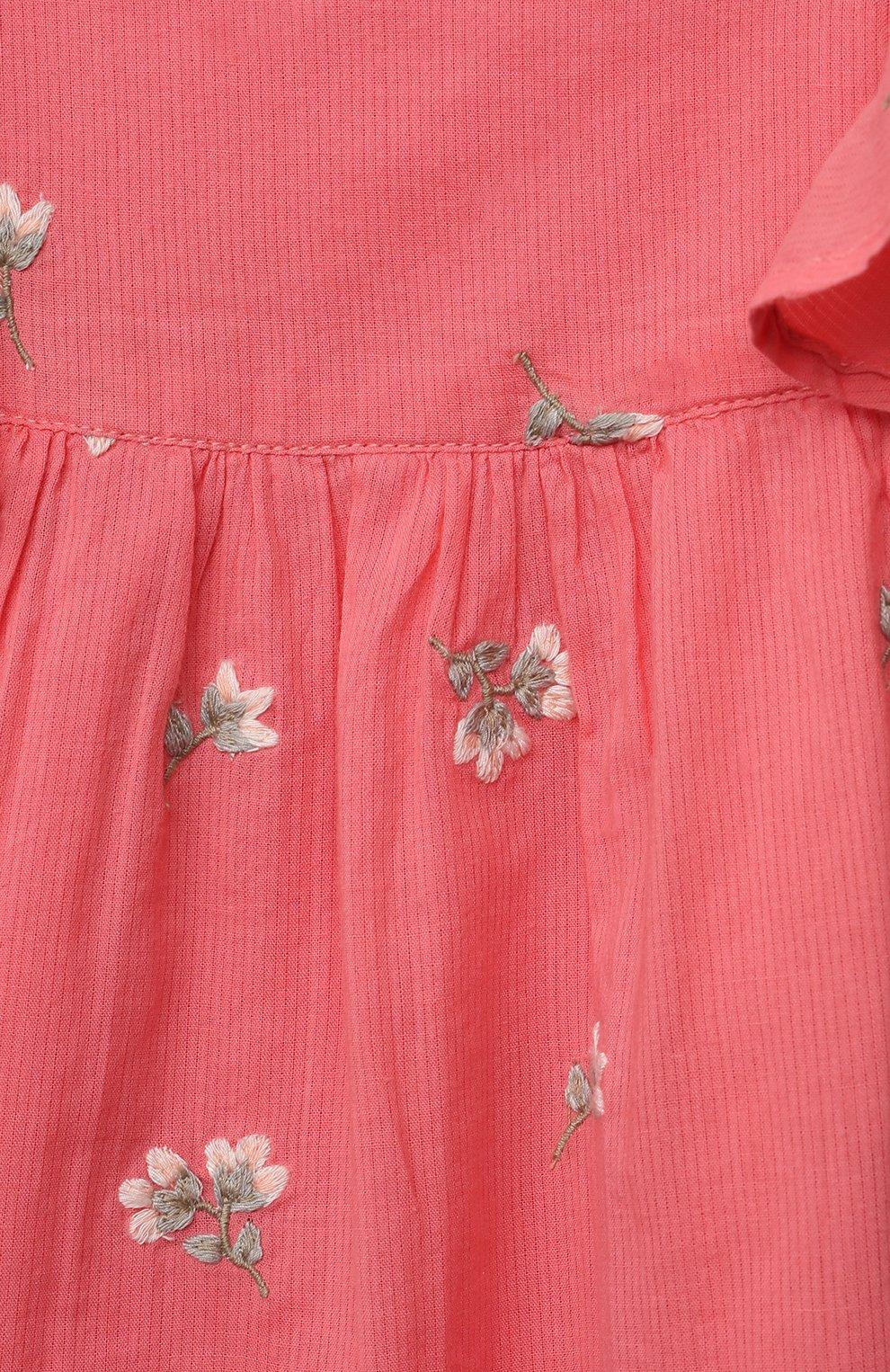 Женский хлопковое платье TARTINE ET CHOCOLAT кораллового цвета, арт. TS30041/1M-1A | Фото 3