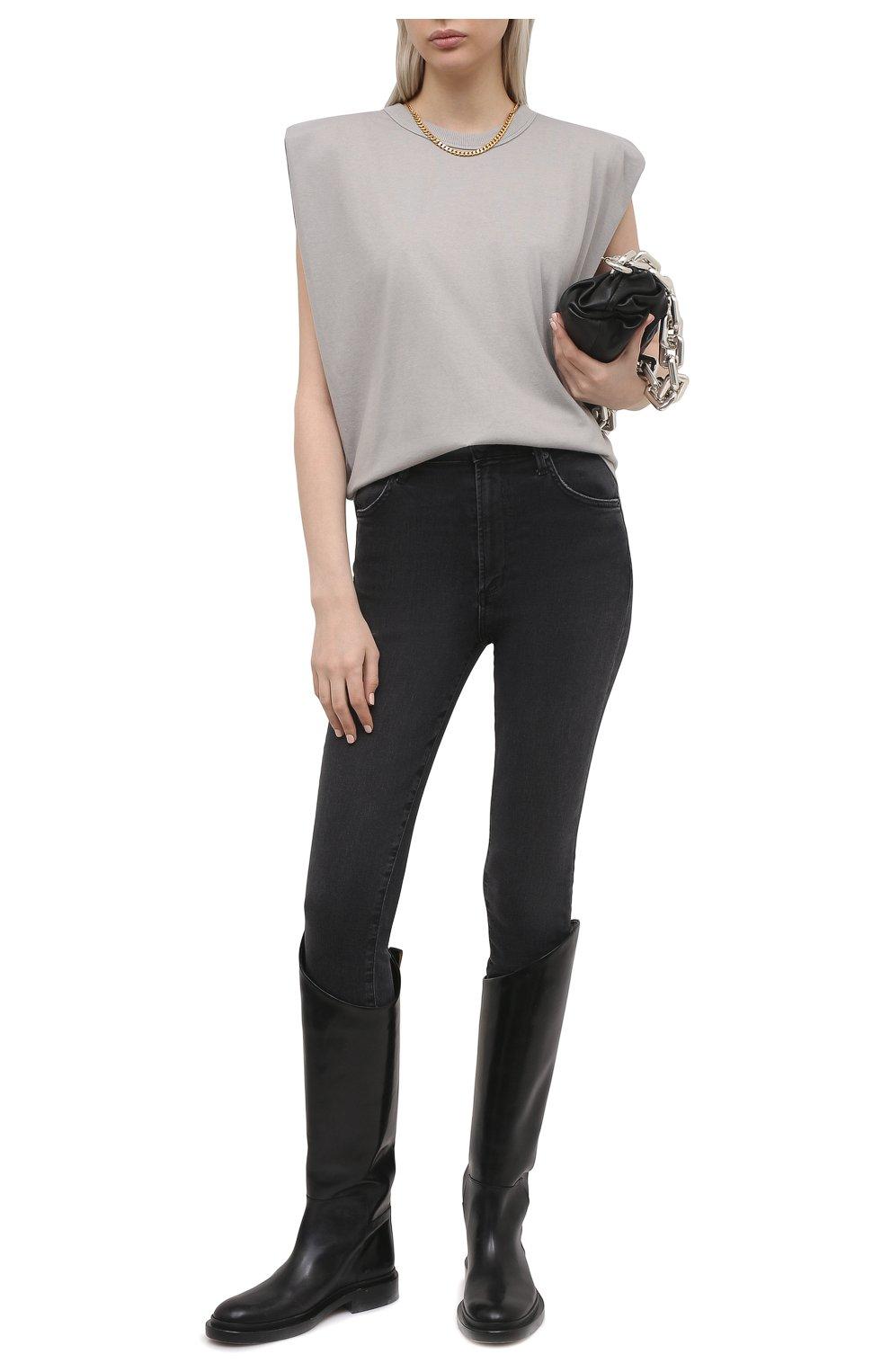 Женская хлопковая футболка THE FRANKIE SHOP серого цвета, арт. TS EVA KR 07 | Фото 2