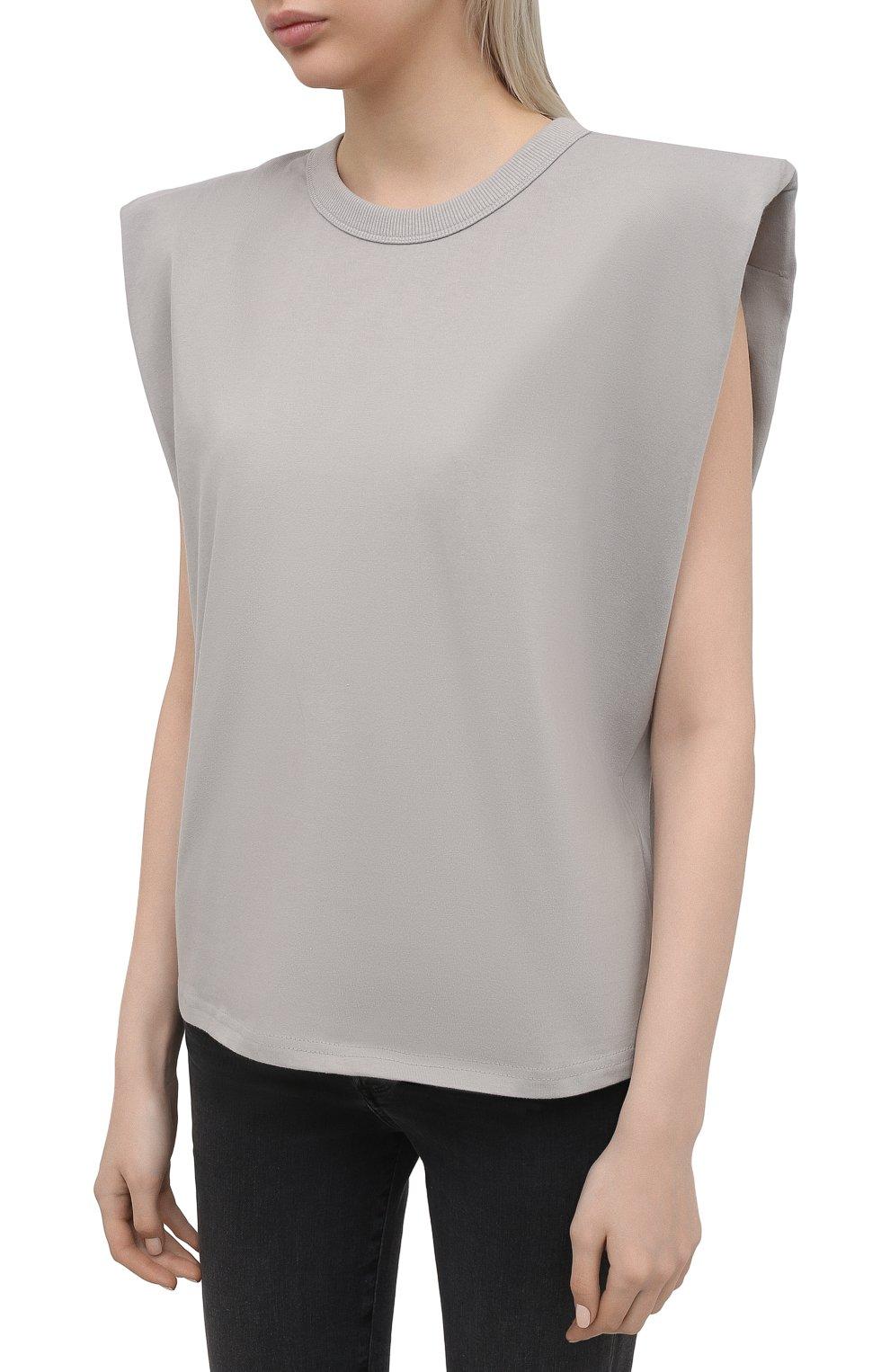 Женская хлопковая футболка THE FRANKIE SHOP серого цвета, арт. TS EVA KR 07 | Фото 3