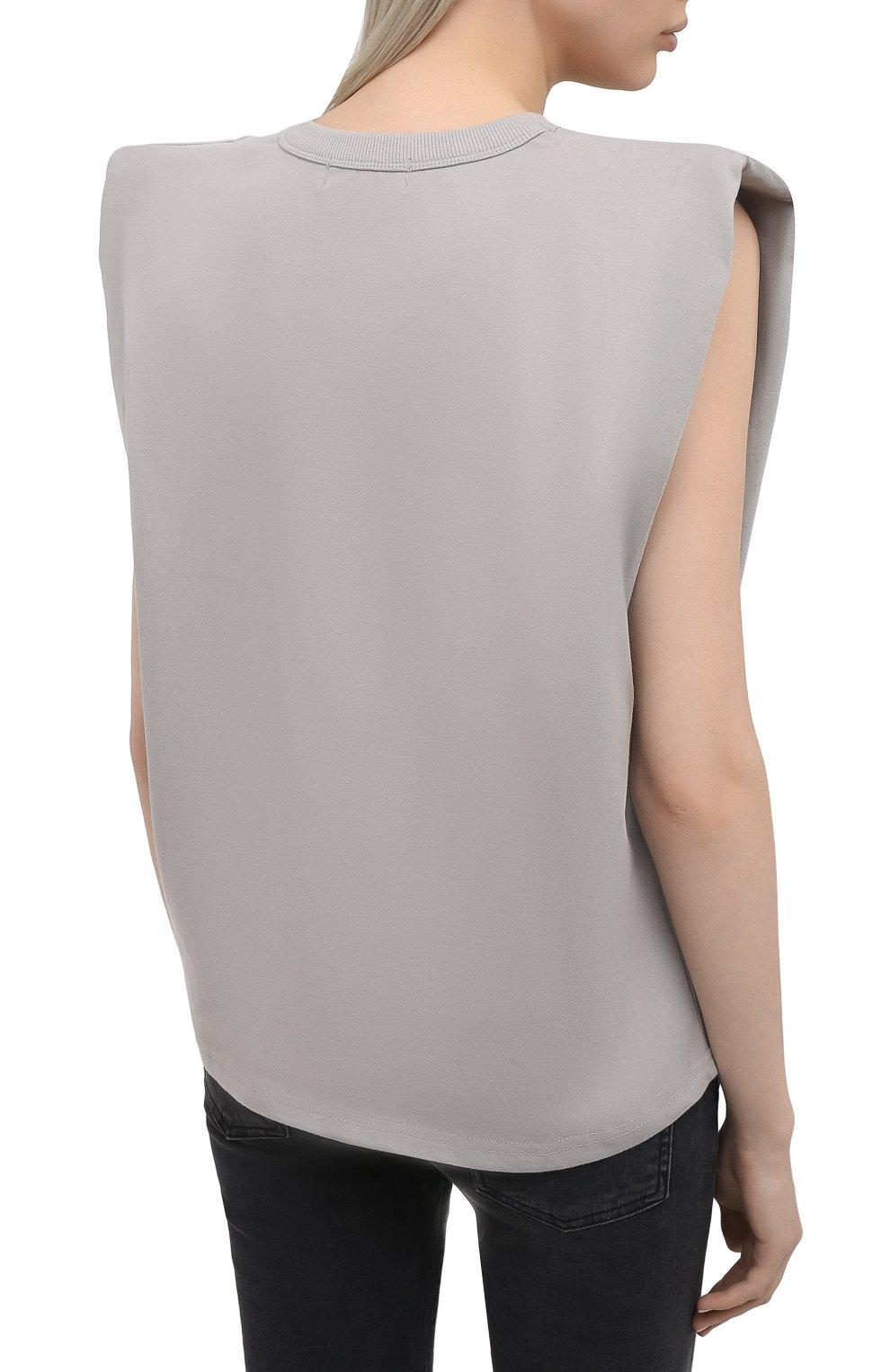 Женская хлопковая футболка THE FRANKIE SHOP серого цвета, арт. TS EVA KR 07 | Фото 4