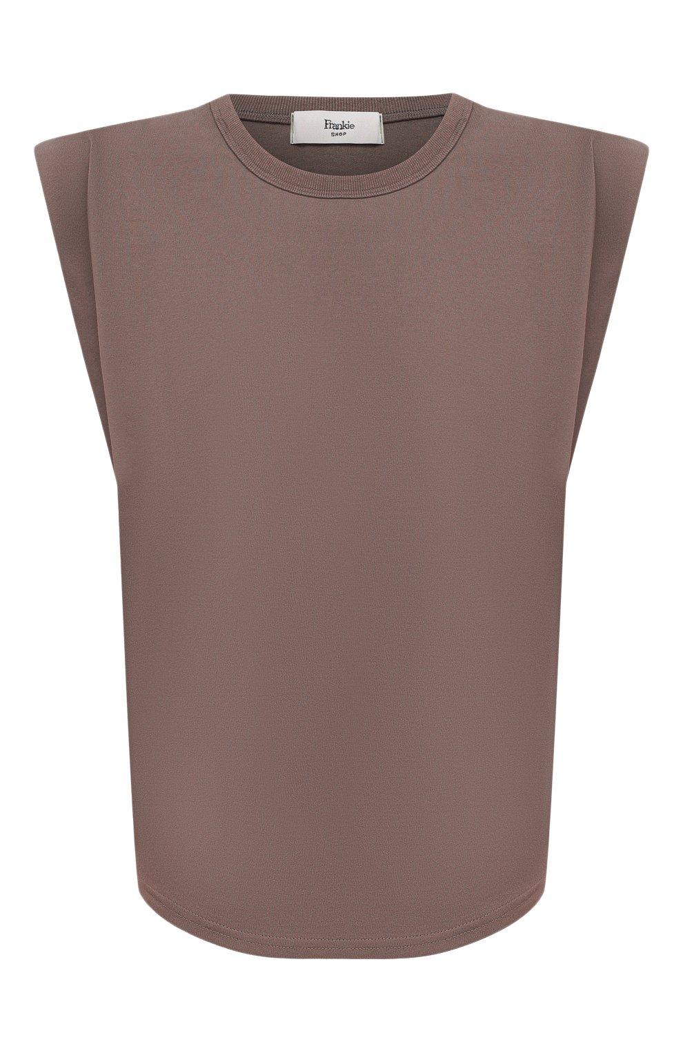 Женская хлопковая футболка THE FRANKIE SHOP коричневого цвета, арт. TS EVA KR 07 | Фото 1