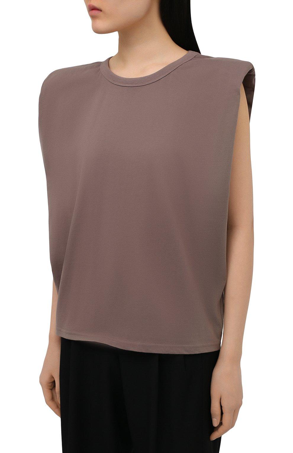 Женская хлопковая футболка THE FRANKIE SHOP коричневого цвета, арт. TS EVA KR 07 | Фото 3