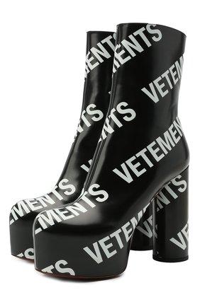 Женские кожаные ботильоны VETEMENTS черно-белого цвета, арт. WE51HE200B 2471 | Фото 1