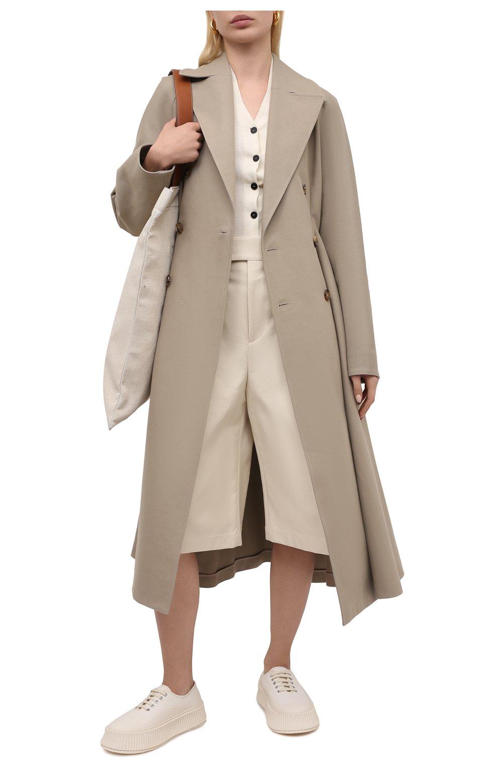 Женские текстильные кеды JIL SANDER белого цвета, арт. JS36072A-13066 | Фото 2