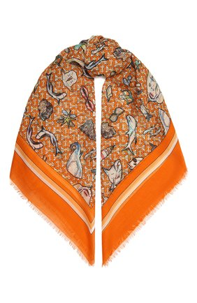 Женская шаль из шелка и шерсти BURBERRY оранжевого цвета, арт. 8039672 | Фото 1