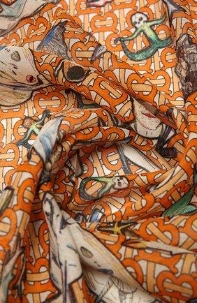 Женская шаль из шелка и шерсти BURBERRY оранжевого цвета, арт. 8039672 | Фото 2