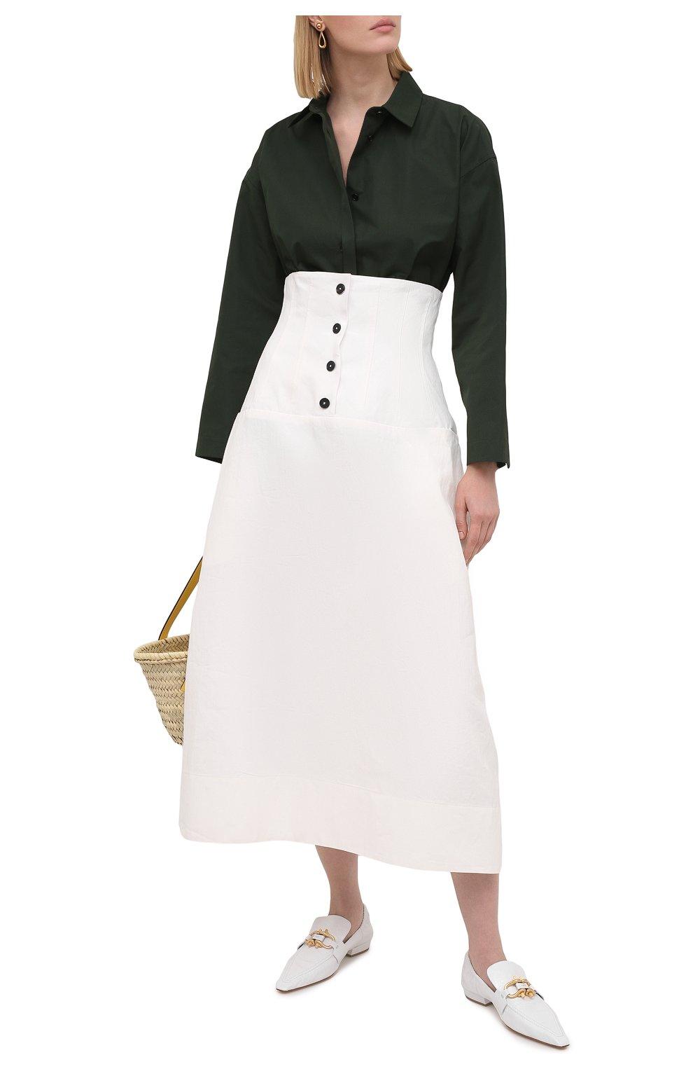 Женская льняная юбка JIL SANDER белого цвета, арт. JSWS355975-WS320700   Фото 2