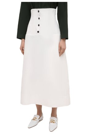 Женская льняная юбка JIL SANDER белого цвета, арт. JSWS355975-WS320700   Фото 3