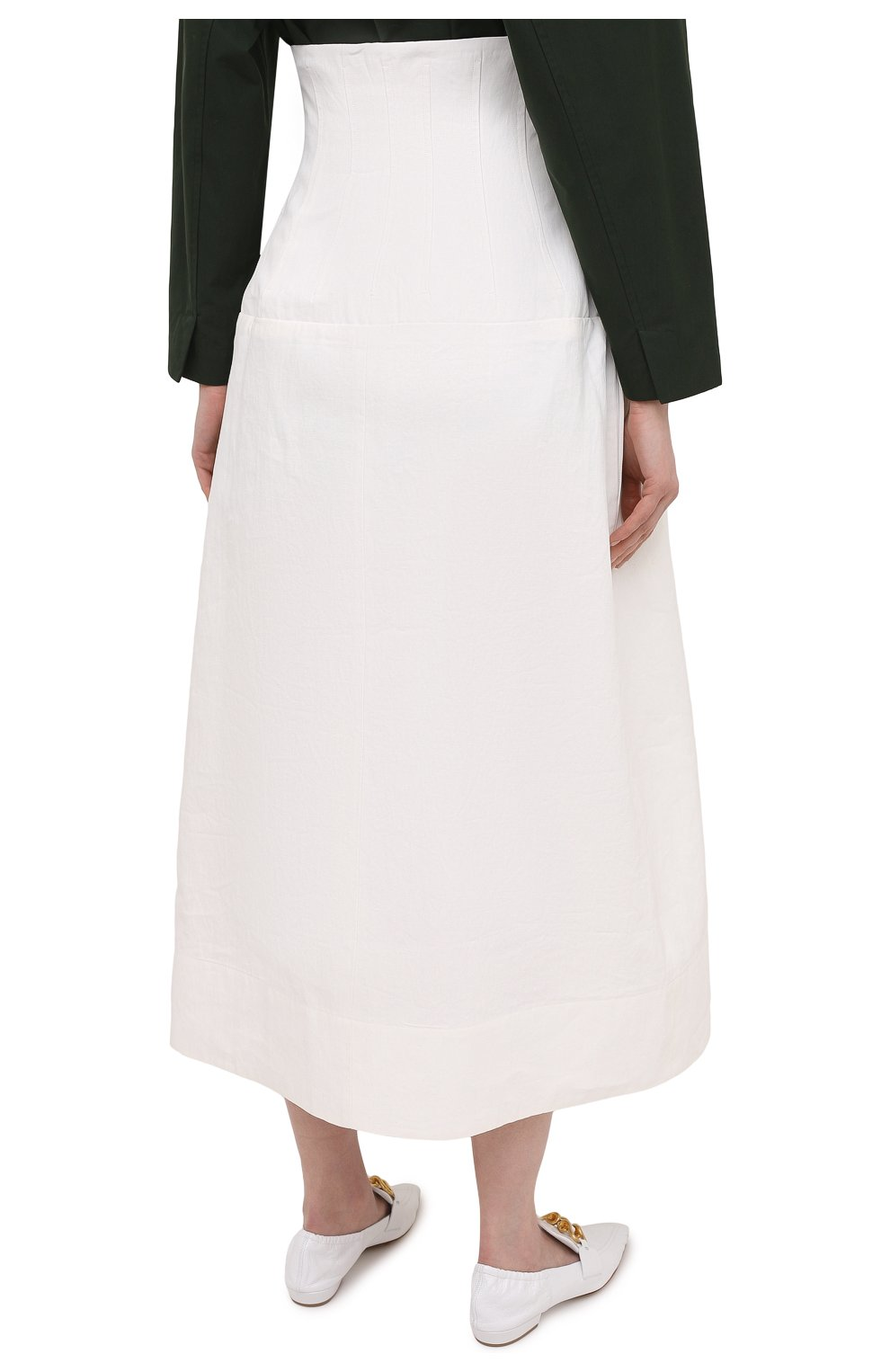 Женская льняная юбка JIL SANDER белого цвета, арт. JSWS355975-WS320700   Фото 4