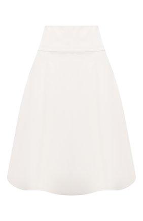 Женская юбка из хлопка и шелка JIL SANDER белого цвета, арт. JSWS355805-WS251400   Фото 1