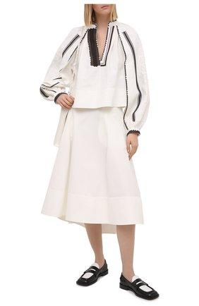 Женская юбка из хлопка и шелка JIL SANDER белого цвета, арт. JSWS355805-WS251400   Фото 2