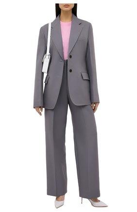 Женские шерстяные брюки JIL SANDER серого цвета, арт. JSPS300425-WS201000   Фото 2 (Материал внешний: Шерсть; Длина (брюки, джинсы): Стандартные; Материал подклада: Вискоза; Стили: Кэжуэл; Силуэт Ж (брюки и джинсы): Широкие; Женское Кросс-КТ: Брюки-одежда)