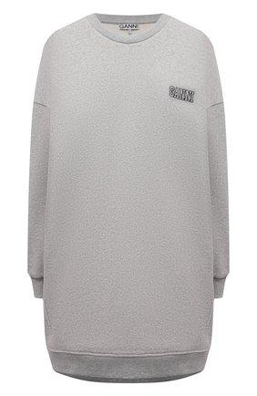 Женский хлопковый свитшот GANNI серого цвета, арт. T2922 | Фото 1