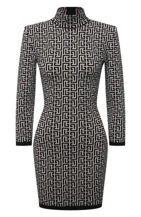 Женское платье из шерсти и вискозы BALMAIN черно-белого цвета, арт. VF0R8071/K253 | Фото 1