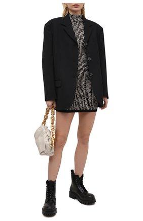 Женское платье из шерсти и вискозы BALMAIN черно-белого цвета, арт. VF0R8071/K253 | Фото 2