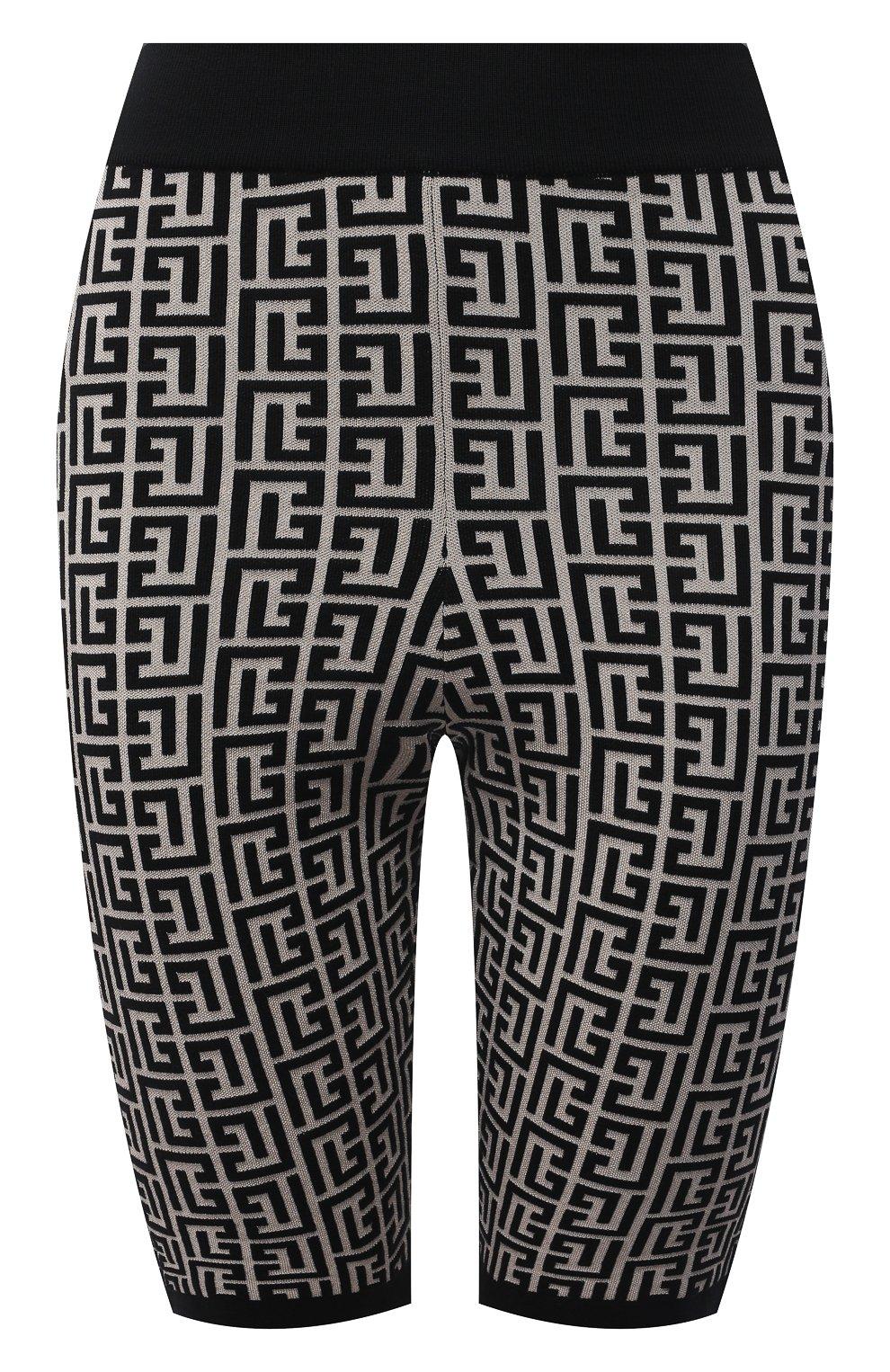 Женские шорты из шерсти и вискозы BALMAIN черно-белого цвета, арт. VF0PB010/K253 | Фото 1