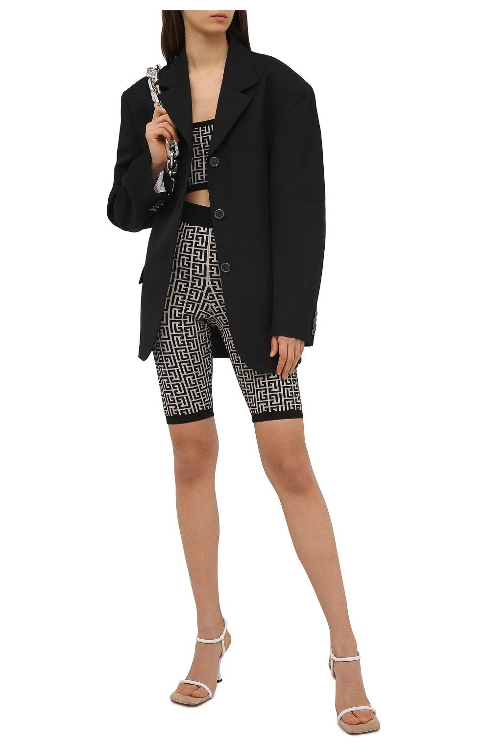 Женские шорты из шерсти и вискозы BALMAIN черно-белого цвета, арт. VF0PB010/K253 | Фото 2