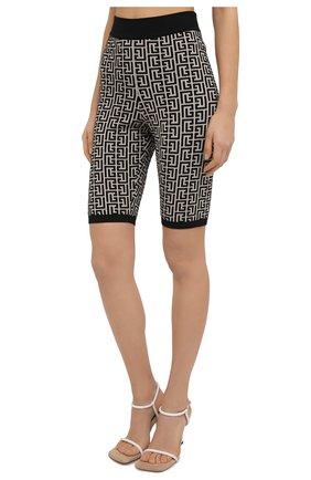 Женские шорты из шерсти и вискозы BALMAIN черно-белого цвета, арт. VF0PB010/K253 | Фото 3