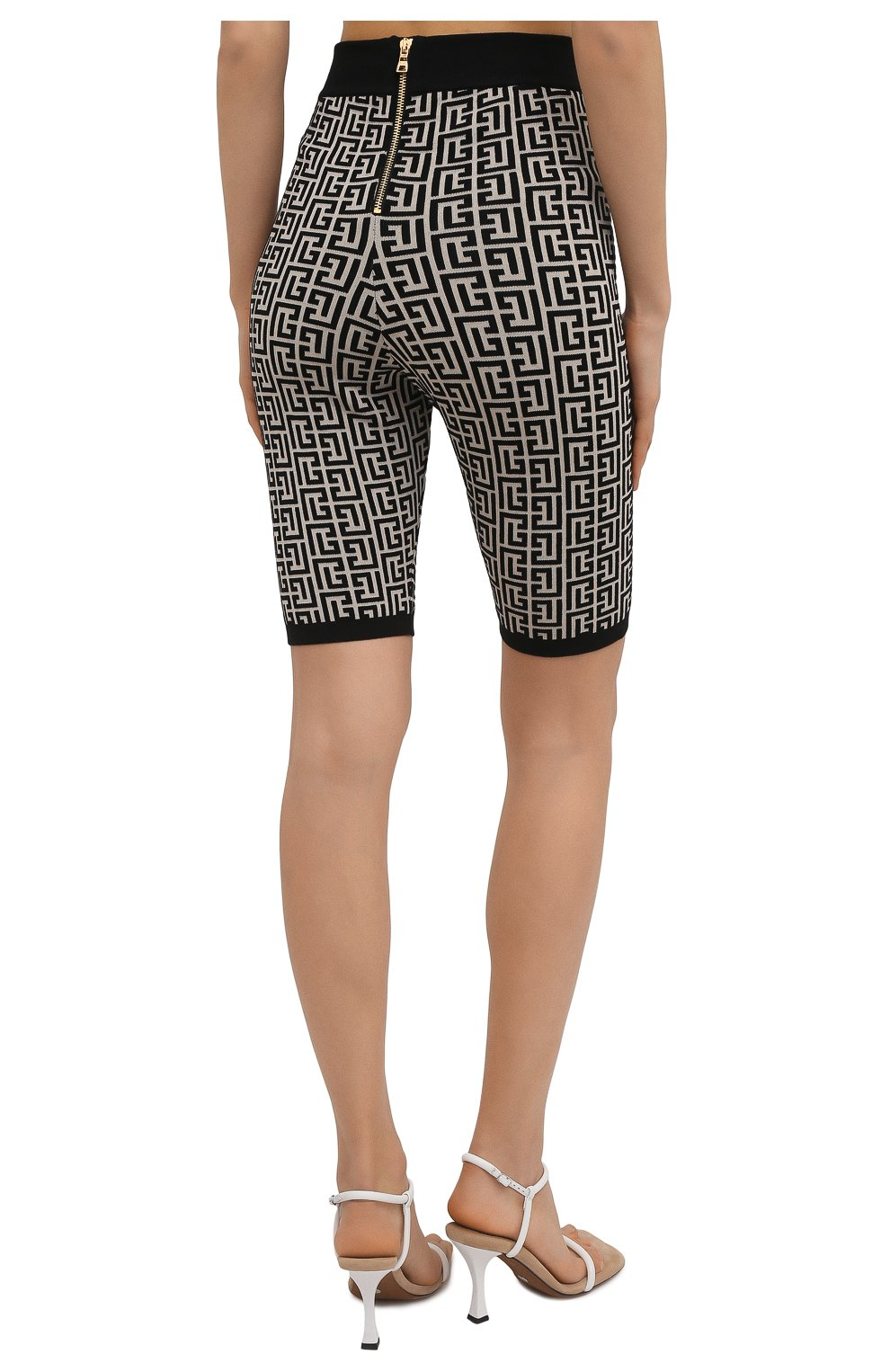 Женские шорты из шерсти и вискозы BALMAIN черно-белого цвета, арт. VF0PB010/K253 | Фото 4
