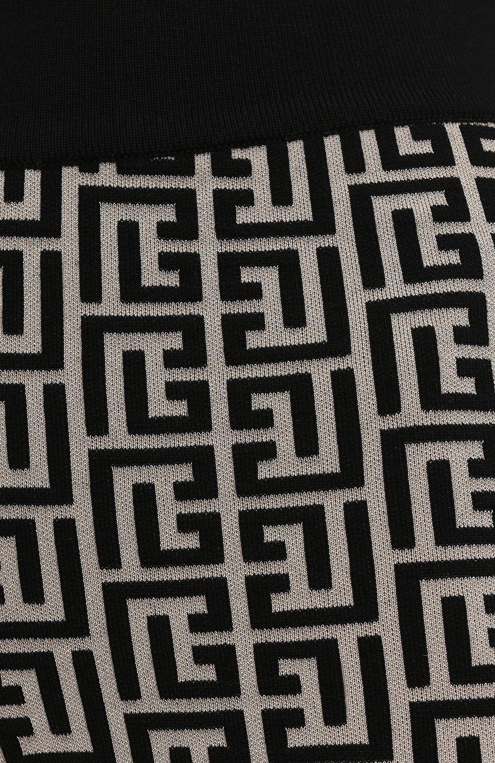 Женские шорты из шерсти и вискозы BALMAIN черно-белого цвета, арт. VF0PB010/K253 | Фото 5