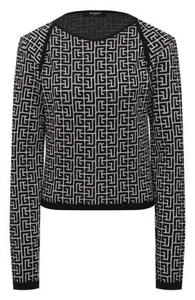 Женский пуловер из шерсти и льна BALMAIN черно-белого цвета, арт. VF0KD010/K256 | Фото 1