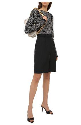 Женский пуловер из шерсти и льна BALMAIN черно-белого цвета, арт. VF0KD010/K256 | Фото 2