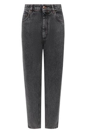 Женские джинсы BRUNELLO CUCINELLI черного цвета, арт. MA095P5654 | Фото 1 (Материал внешний: Хлопок; Длина (брюки, джинсы): Стандартные; Стили: Кэжуэл; Кросс-КТ: Деним; Силуэт Ж (брюки и джинсы): Бойфренды)