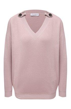 Женский хлопковый свитер BRUNELLO CUCINELLI розового цвета, арт. M19198302 | Фото 1
