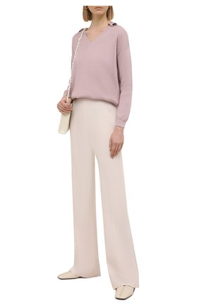 Женский хлопковый свитер BRUNELLO CUCINELLI розового цвета, арт. M19198302 | Фото 2