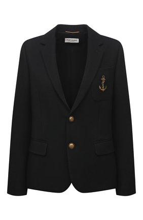 Женский шерстяной жакет SAINT LAURENT черного цвета, арт. 649550/Y1B47 | Фото 1