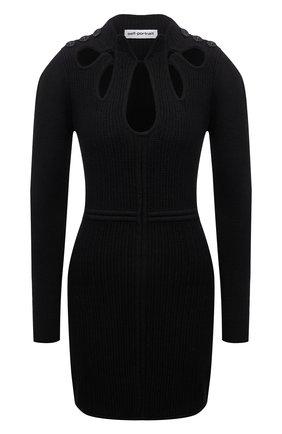 Женское платье из хлопка и шерсти SELF-PORTRAIT черного цвета, арт. SS21-106   Фото 1