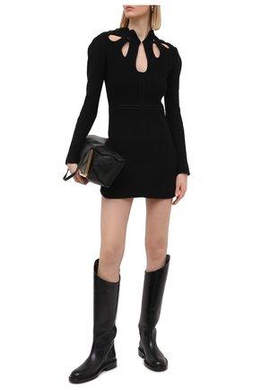 Женское платье из хлопка и шерсти SELF-PORTRAIT черного цвета, арт. SS21-106   Фото 2