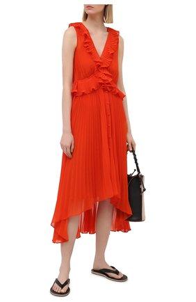 Женское платье SELF-PORTRAIT оранжевого цвета, арт. SS21-101 | Фото 2