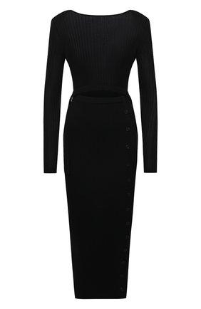 Женское платье из вискозы SELF-PORTRAIT черного цвета, арт. SS21-082B   Фото 1