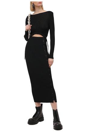 Женское платье из вискозы SELF-PORTRAIT черного цвета, арт. SS21-082B   Фото 2