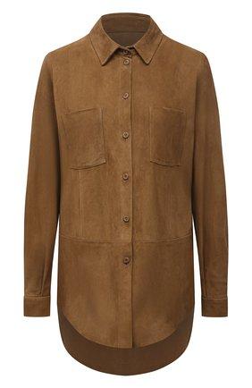 Женская замшевая рубашка DROME коричневого цвета, арт. DPD0398P/D714P | Фото 1