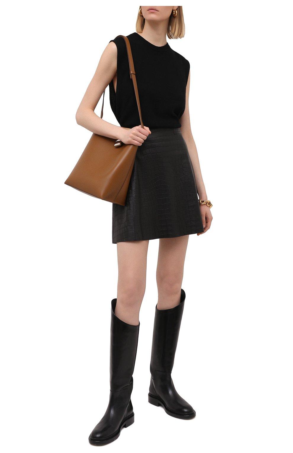 Женская кожаная юбка DROME черного цвета, арт. DPD1930P/D2010P   Фото 2