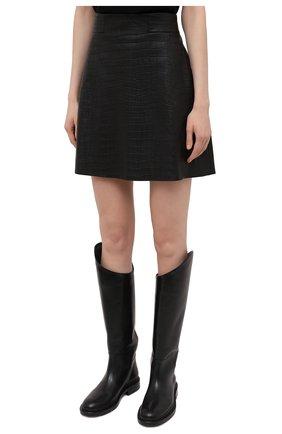Женская кожаная юбка DROME черного цвета, арт. DPD1930P/D2010P   Фото 3