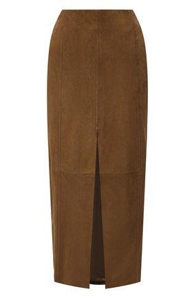 Женская замшевая юбка DROME коричневого цвета, арт. DPD7051P/D714P | Фото 1