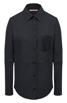 Женская кожаная рубашка YVES SALOMON темно-синего цвета, арт. 9EYH22166APXX | Фото 1