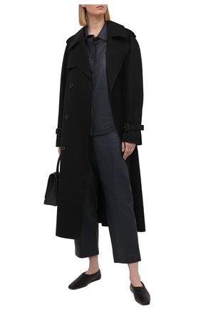 Женская кожаная рубашка YVES SALOMON темно-синего цвета, арт. 9EYH22166APXX | Фото 2