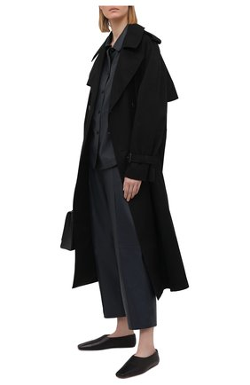 Женские кожаные брюки YVES SALOMON темно-синего цвета, арт. 21WYP205XXAPXX | Фото 2